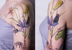 Purple Japanese Iris, dragonflies and caterpillars from 50 Insanely Gorgeous Nature Tattoos
