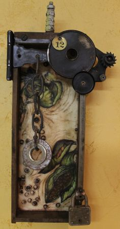 """""""Remnants of the Old Remington""""--Assemblage--Encaustic, Found Objects, Ink, and Oil--Junk Drawer Series--Artist:  Kathy Moore   www.kathymooreart.com"""