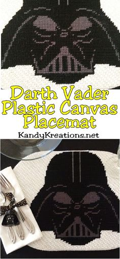 Create an out of this world Star Wars dinner party with this plastic canvas Darth Vader placemat pattern. If you know the basics of plastic canvas, you'll be able to easily sew this Darth Vader plastic canvas pattern and be the hero of the galaxy. Plastic Canvas Christmas, Plastic Canvas Crafts, Plastic Canvas Patterns, Disney Diy, Disney Crafts, Embroidery Patterns, Hand Embroidery, Star Wars Party, Embroidery For Beginners