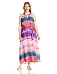 Jessica Simpson Women's Plus-Size Waver Leigh Maxi Dress Degrade -- Awesome product. Click the image : Plus size fashion