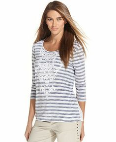 Style&co. Three-Quarter-Sleeve Striped Mixed-Media Top - Tops - Women - Macy's