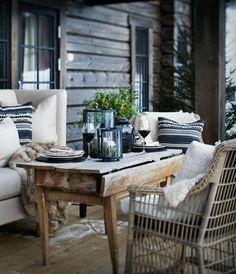 These cosy winter outdoor spaces will bring you lots of inspiration for the upcoming winter. Enjoy your outdoor space no matter what season it is! Outdoor Rooms, Outdoor Dining, Outdoor Tables, Outdoor Furniture Sets, Outdoor Decor, Outdoor Seating, Cosy Winter, Winter Cabin, Winter Porch