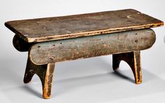 Green-painted Footstool, New England, early century, rectangular top with…