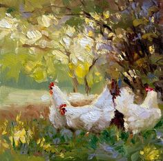 Friend Chickens with palette knife art for sale at Toperfect gallery. Buy the Friend Chickens with palette knife oil painting in Factory Price. Paintings I Love, Animal Paintings, Beautiful Paintings, Chicken Painting, Chicken Art, Landscape Art, Landscape Paintings, Landscapes, Rooster Art