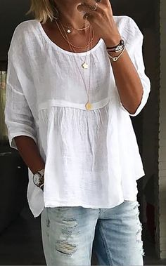 Plus Size Solid Casual Round Neckline Sleeves Blouses - White Source by floryday clothes fashion closet Boho Fashion, Fashion Outfits, Womens Fashion, Fashion Trends, Fashion Blouses, White Fashion, Fashion Fall, Blouse Styles, Blouse Designs