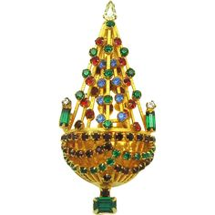 Vintage JOSEPH WARNER 'Chandelier' Dimensional Christmas Tree Brooch Pin