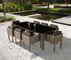 Outdoor Furniture Sets   Outdoor Dining Sets   Amber Dining Set For 8 With  Side Straps