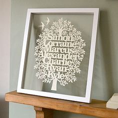 Large Personalised Family Tree Papercut - pictures, prints & paintings