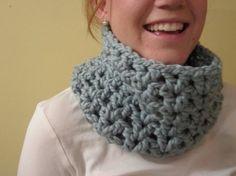 Crochet Cowl chunky wool in Light Blue by LarkspurCrochet on Etsy, $25.00