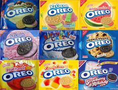 To better understand of the crazy evolution of the Oreo (how did we end up with a Cinnamon Bun flavor?), we rounded up every single flavor we could find. Weird Oreo Flavors, Cookie Flavors, Different Oreo Flavors, Oreos, Snacks Japonais, Cute Food, Yummy Food, Nabisco Oreo, Sleepover Food
