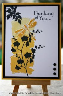 handmade card from Paper Play with Cindi ... dragonfly and silhouette branches ... black, white and yellow ... great card ... Stampin' Up!