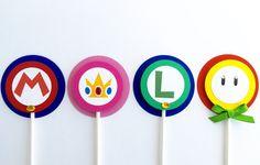 Conjunto de 12 Super Mario Bros Cupcake Toppers por SalomeCrafts