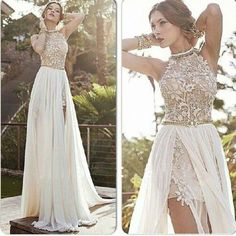 DIYouth.com Sexy Halter Side Slit White Chiffon Beaded Appliques Lace Prom Dresses, open back evening dresses, backless evening dresses ,Cocktail Dresses,lace Party Dresses, Celebrity Dresses cute,Sweet 16 Dresses 2015