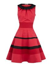 Pretty Red 15% Polyester 81% Cotton 4% Spandex Sleeveless Day Dress