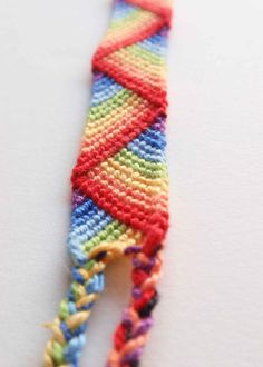 Rainbow friendship bracelet  stripes made to by TroisPommesVertes, $7.00