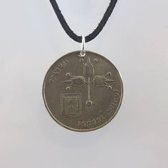 Israel Coin Necklace 1 Lira Coin Pendant Mens Necklace