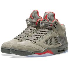 Nike Air Jordan 5 Retro ($209) ❤ liked on Polyvore featuring shoes, red retro shoes, nike, nike shoes, breathable shoes and red shoes