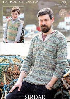 3b089b112 Sirdar Mens Boys Faroe Chunky Sweater   Tank Top Knitting Pattern 9909   Amazon.co.uk  Kitchen   Home