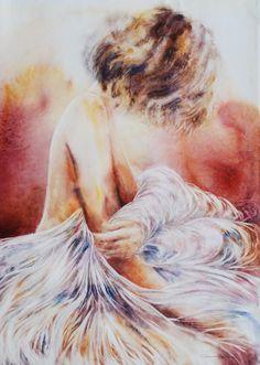 Watercolor - Artist Corinne Izquierdo -  Voile.56X42.2014