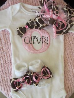 New Baby Girl Gift Set/ Home from the Hospital Set by BowtiqueMama, $58.00