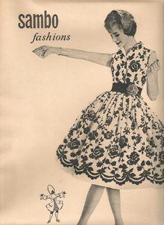 """vintage 1950s Sambo Fashions dress advert from """"She"""" mag. May 1959."""