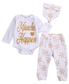 >> Click to Buy << 3pcs New Baby Boy Girl Christmas Clothes Long Sleeve Letter Romper+Snowflake Pants +Hat Baby Clothing Outfits Set 0-18M #Affiliate