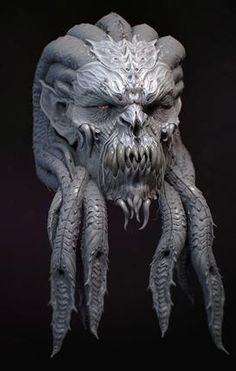 Demon head design by kevin demuynck on ArtStation. Alien Concept Art, Creature Concept Art, Creature Design, Alien Character, Character Art, Character Design, Fantasy Monster, Monster Art, Arte Horror