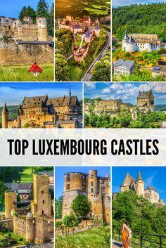 Top 9 most beautiful castles in Luxembourg. Vianden Larochette Bourscheid Useldange Clervaux EschSurSre Ansembourg and much more Pictures heavy European Vacation, European Destination, European Travel, Europe Travel Guide, Travel Destinations, Le Luxembourg, Road Trip, Beautiful Castles, Australia Travel