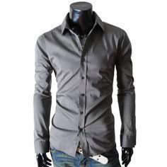 Amazon.com: (STL) TheLees Mens casual slim fit basic dress shirts: Clothing  $27.99