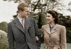 Prince Philip and Queen Elizabeth II on their honeymoon, at Broadlands, the Mountbatten estate in Hampshire, November 1947