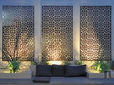 Enjoy your relaxing moment in your backyard, with these remarkable garden screening ideas. Garden screening would make your backyard to be comfortable because you'll get more privacy. Contemporary Outdoor Wall Art, Modern Contemporary, Outdoor Rooms, Outdoor Walls, Outdoor Life, Outdoor Wall Panels, Outdoor Metal Wall Art, Metal Garden Wall Art, Garden Wall Lights