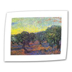 Olive Grove with Yellow Sky by Vincent van Gogh Painting Print on Canvas
