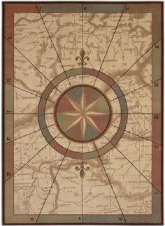 Coastal Map & Compass Nautical Voyages Area Rug by Kathy Ireland Ohana  Paradise for Shaw Living