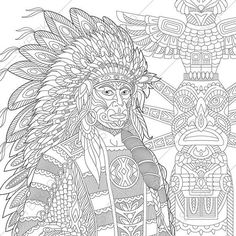 adult coloring pages native american indian chief zentangle doodle coloring book pages digital illustration instant download print