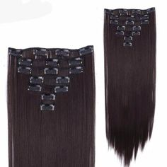 Thick Synthetic 7 Piece 22 inches Long Clip in Hair Extensions