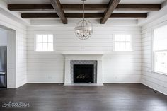 """Jason Black on Instagram: """"Shiplap walls and aged wood beams give this living room a very comfortable feel. #ballarddesigns"""""""