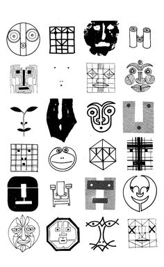 Bruno Munari: Drawings of Faces | Multiple Identities of a Face