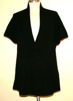 "Theory ""Kadence"" 100% Cashmere Black Short Sleeve Sweater"