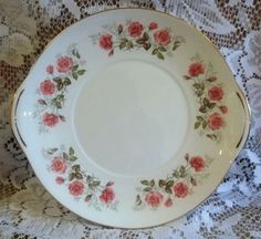 Mayfair China Cake or Sandwich Plate - Pink Roses Pattern