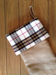 Burlap Christmas Stocking with Plaid Flannel Cuff on Etsy