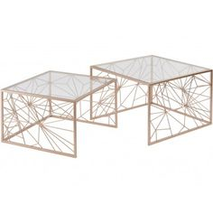 This gorgeous set of 2 contemporary geometric nest of tables would look amazing in your living room or bedroom. With a smooth copper finish, and a glass top these two tables are extremely modern and look perfect matched with other copper pieces. Decorative Accessories, Decorative Boxes, Wholesale Furniture, Nesting Tables, Clear Glass, Home Furniture, Copper, Libra, Home Decor