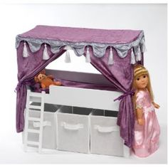 "Doll Canopy Bed & Storage Set Fits American Girl 18"" Inch Dolls Furniture omg i want this bed its cute and greatand it realy cheep for something like this"