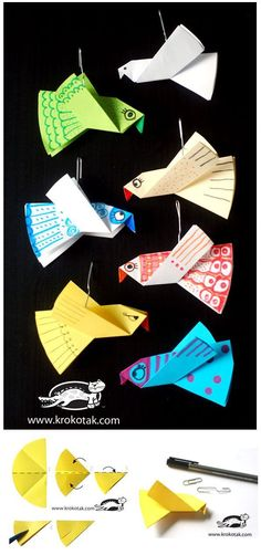 Paper birds for colouring – easy to make