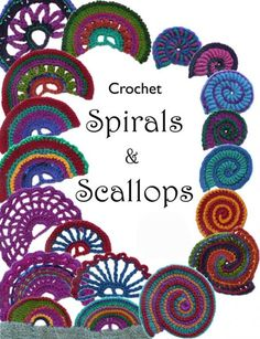 Crochet Squares crochet spirals and scallops - I've been looking back at my earliest link love crochet posts from several years ago when I didn't even include photos in the roundups. I noticed that there are a lot of great crochet p… Crochet Books, Crochet Art, Love Crochet, Irish Crochet, Crochet Flowers, Felt Flowers, Crochet Motifs, Freeform Crochet, Crochet Squares