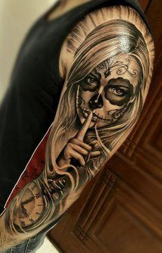 115 Santa Muerte Magnificent ideas for the unique tattoo designs Skull Girl Tattoo, Girl Arm Tattoos, Leg Tattoo Men, Body Art Tattoos, Skull Candy Tattoo, Tatoos, Chicano Tattoos Sleeve, Best Sleeve Tattoos, Best Arm Tattoos