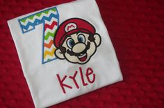 Hey, I found this really awesome Etsy listing at https://www.etsy.com/listing/188495759/super-mario-appliqued-birthday-shirt