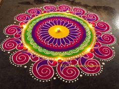 Kolam by Shanthi Sridharan Rangoli Designs Simple Diwali, Best Rangoli Design, Indian Rangoli Designs, Rangoli Designs Flower, Rangoli Patterns, Free Hand Rangoli Design, Rangoli Border Designs, Rangoli Ideas, Colorful Rangoli Designs