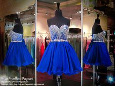 This royal blue strapless cutie has a flowing chiffon skirt and a sweetheart bodice completely detailed with breathtaking sparkling crystals. Its lace-up back allows for easy up or downsizing and it's at Rsvp Prom and Pageant, Atlanta, GA! 115MF018450299