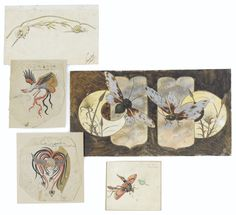 Emile Gallé CINQ DESSINS PRÉPARATOIRES, VERS 1885 FIVE DRAWINGS ON PAPER BY EMILE GALLÉ, CIRCA 1885 Estimate  2,500 — 3,500  EUR  LOT SOLD. 6,250 EUR