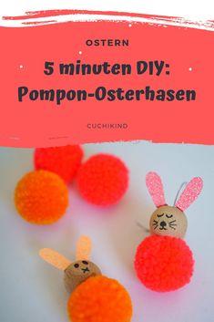 PomPon/Pompom, Bommel-Osterhasen in 5 Minuten basteln. Süße Hasen zum Osterfest mit Pompons in neonrot. Basteln mit Kindern, ganz leicht und schnell. Ostern kann kommen.  #ostern #bommel #pompom #pompon #bastelnmitkindern Diy For Kids, Projects To Try, Blog, Party, Diys, Easter Gifts For Kids, Blogging